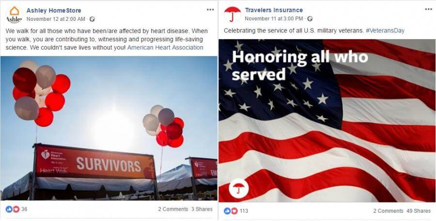 Causes you support: Ashley HomeStore and Travelers Insurance
