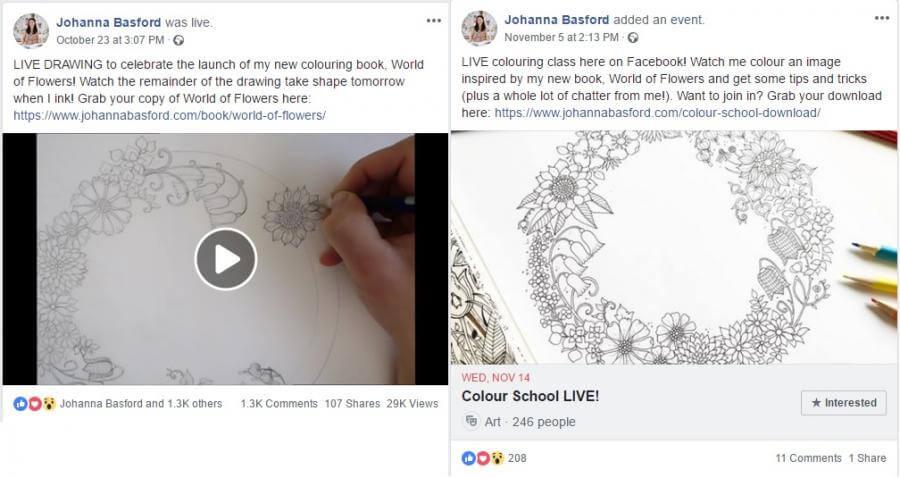 Live videos: Johanna Basford