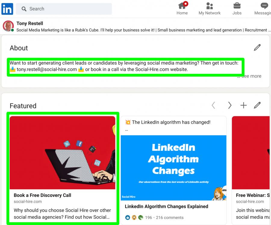 LinkedIn About and Featured Sections