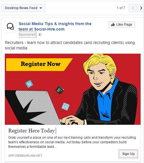 Facebook Advertising - Example Advert