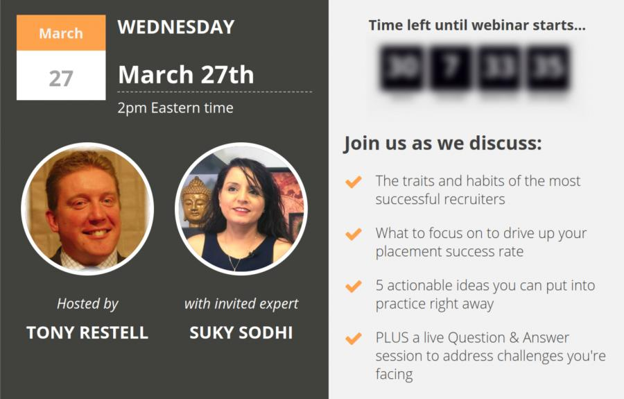 Webinar for Recruitment Consultants with Suky Sodhi