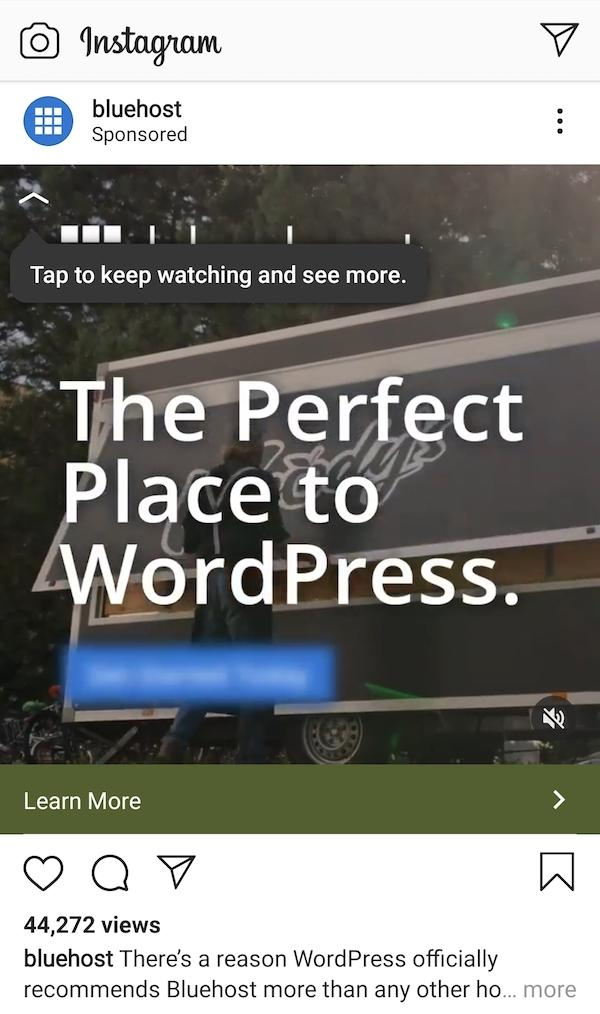 ig bluehost ad