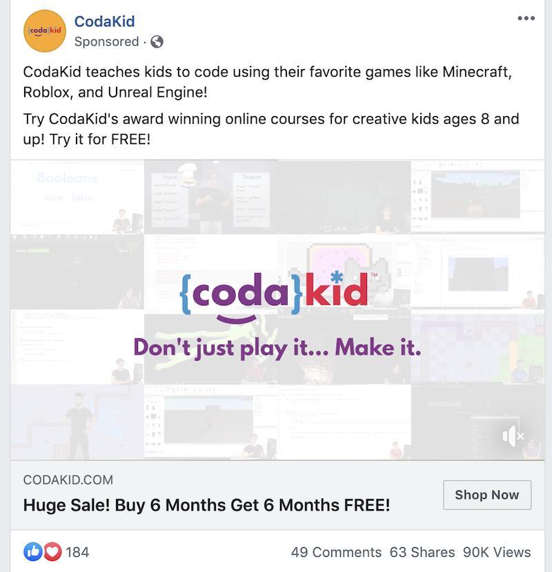 codakid ad on facebook
