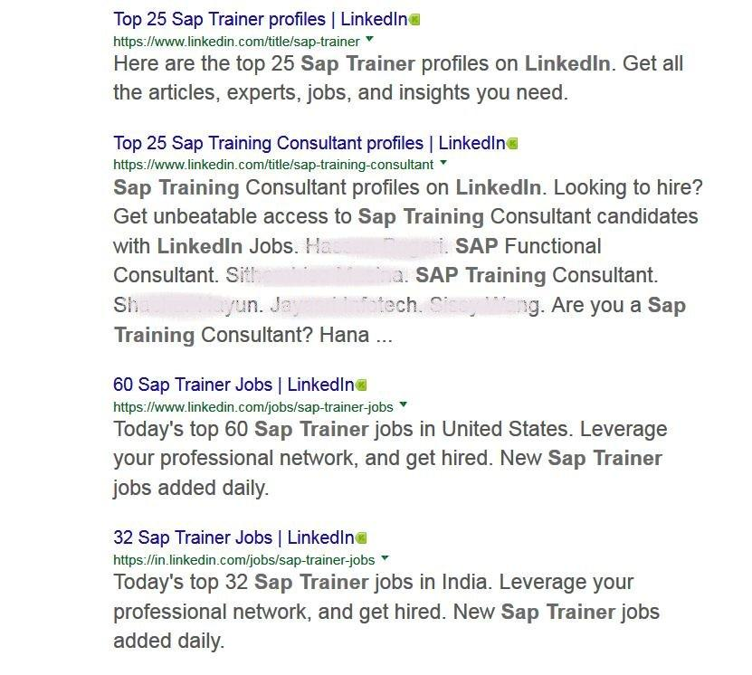 Screenshot LinkedIn SAP Trainer Top Profiles