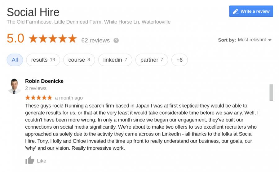 Google Reviews Social Hire